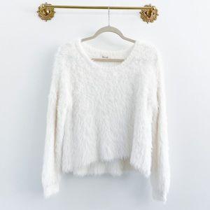 Bella Dahl Fur Fuzzy Slouchy Sweater White
